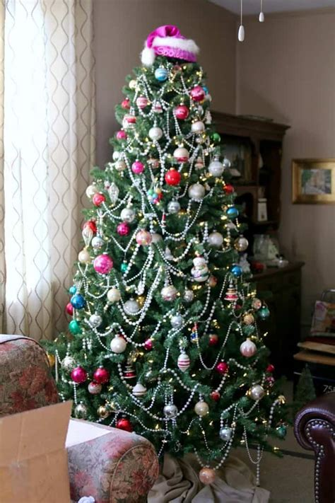 shiny bright christmas ideas tree decorated with vintage glass ornaments