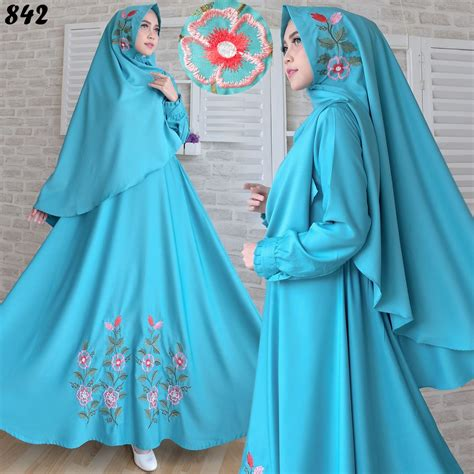 Baju Gamis Wanita Gamis Jumbo Muslim Satin 1075 Jmb Gamis Syari Baloteli Bordir C842 Baju Muslim Terbaru