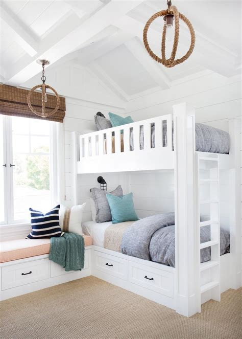 kid spaces design coastal bedroom with bunk beds lifeguard chair