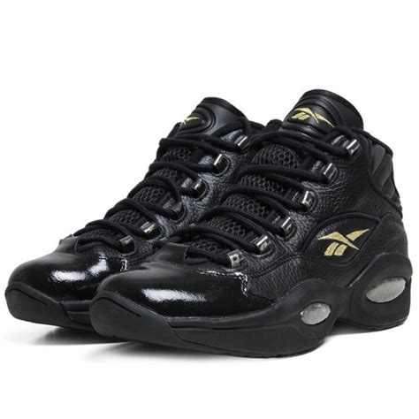 reebok question mid in black gold nye 10th year