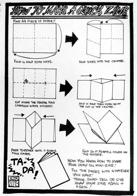 How To Fold A A4 Paper Into An Envelope - flipe munyuck how to make a zine 1 using an a4