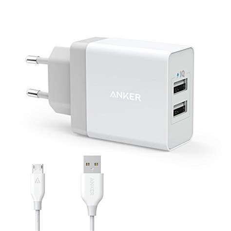 Anker 24w 2 Port Usb Wall Charger Micro Usb 3ft 0 9m Black Wall Charger Anker 2 Port 24w Usb With 90 Cm Micro B Usb