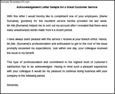 Acknowledgement Letter For Years Of Service acknowledgement letter sle for a great customer service