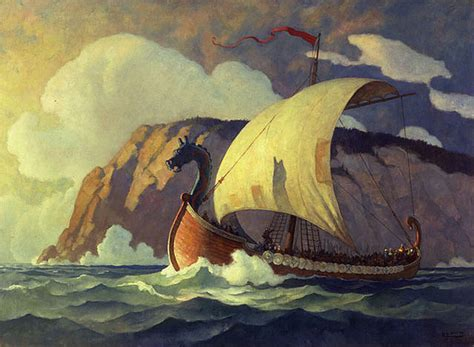 Painting C by Marine Paintings Viking Ships