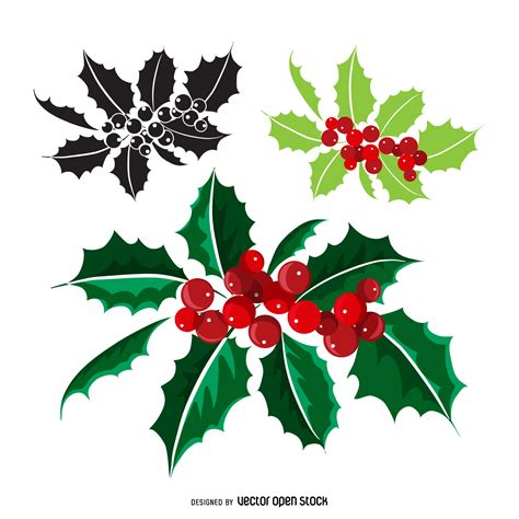 christmas mistletoe different styles vector download
