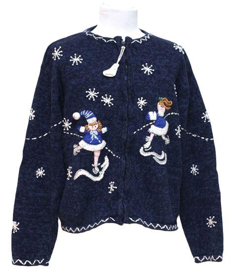 Sweater Skaters womens sweater tiara navy blue background cotton ramie