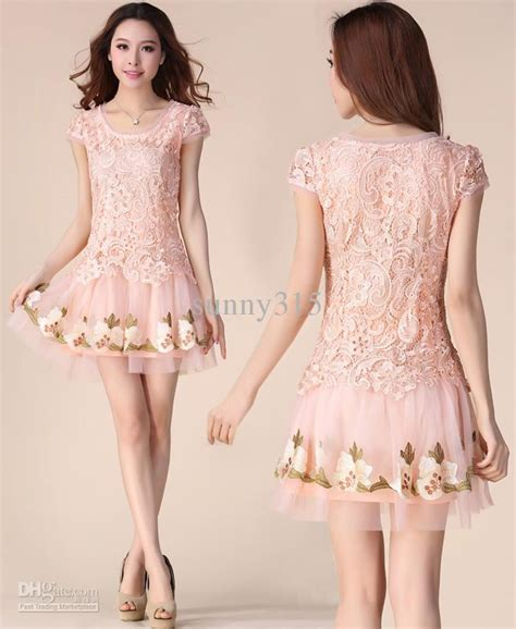 Dress Korea Pink By Griyaaglie summer dresses korean princess embroidery mesh lace