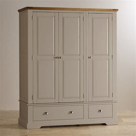 gray wardrobe st ives grey painted triple wardrobe in natural oak