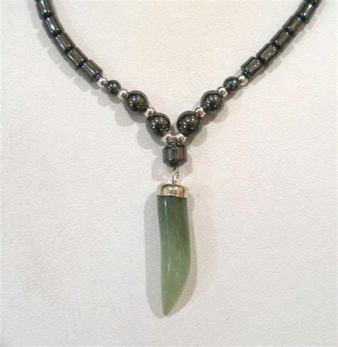 magnetic l shade jewelry hematite beaded green aventurine pendant necklace magnetic