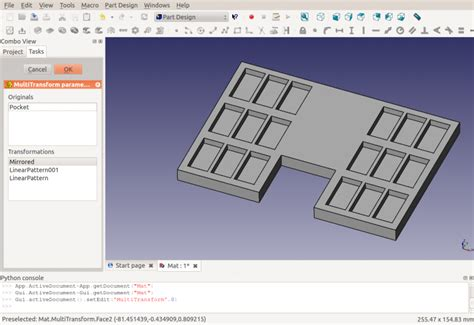 linear pattern up to reference partdesign multitransform freecad documentation