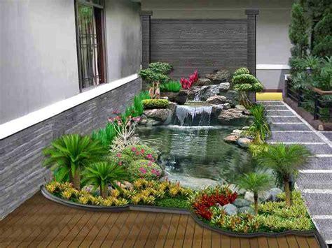 ide pembuatan kolam ikan hias minimalis  halaman rumah