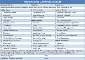 New Employee Orientation Template by Checklist New Employee Orientation Template Html