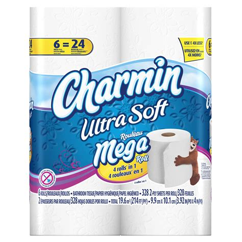 charmin bathroom tissue charmin bathroom tissue unscented mega roll 2 ply 6 ct