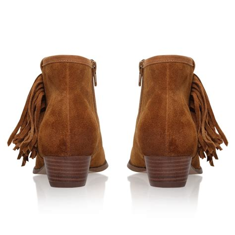 miss kg sassy suede tassel ankle boots in brown lyst