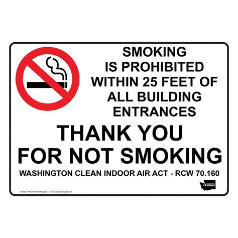 no smoking sign washington state smoking prohibited within 25 feet entrances sign nhe 6909