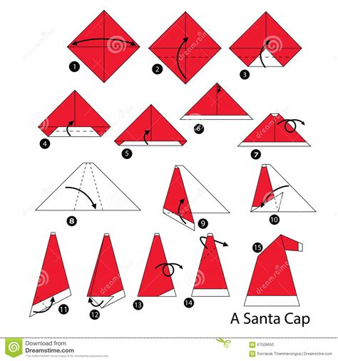 How To Make An Origami Santa - step by step how to make origami santa cap