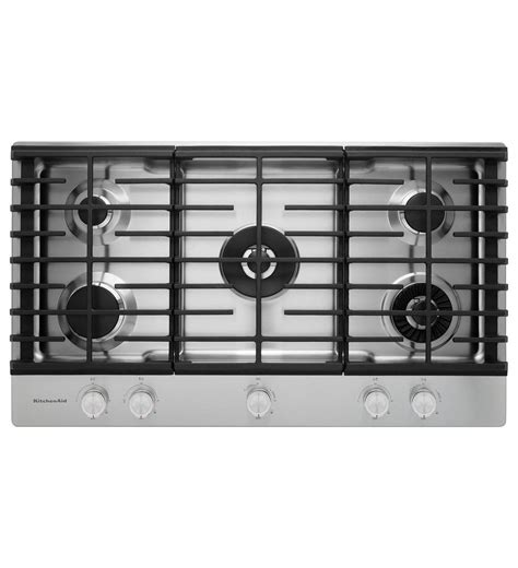 KitchenAid® 36'' 5 Burner Gas Cooktop with Griddle (KCGS956ESS Stainless Steel)