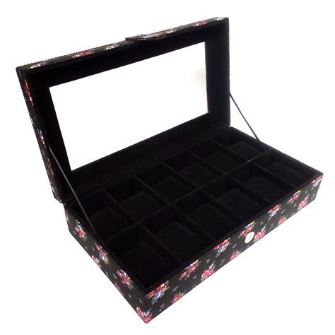 Boxwadah Jam Tangan Isi 6 Hitam jual kualitas kotak jam tangan isi 12 jumbo hitam motif bunga modemku mega sarana