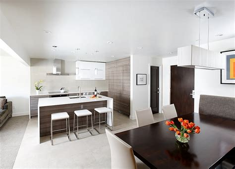 contemporary open floor plans contemporary kitchen and ining area in an open floor plan