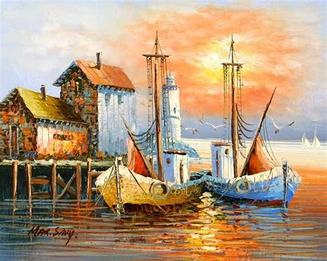sailboat on spanish paintings of boats in harbor old spanish harbor boats