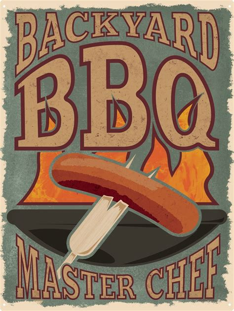 backyard bbq master chef tin sign 30 5x40 7cm ebay