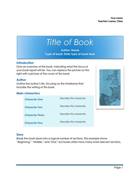 book report template word templates