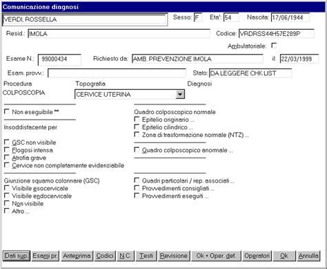 referto pap test screening indicatori di processo