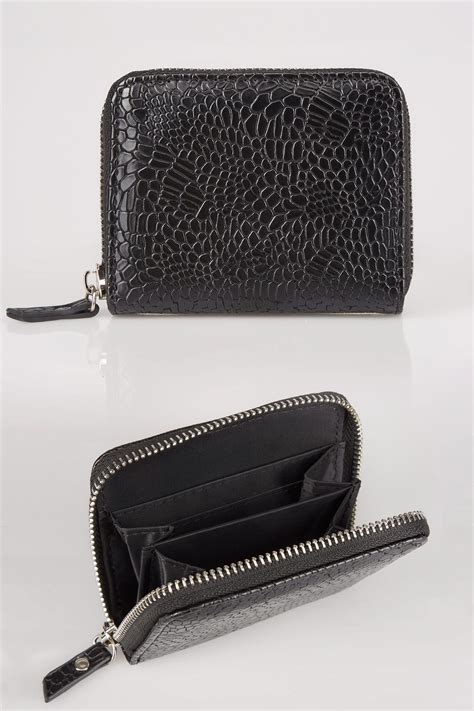 Mobile No Finder With Address Black Textured Snakeskin Effect Small Zip Around Purse