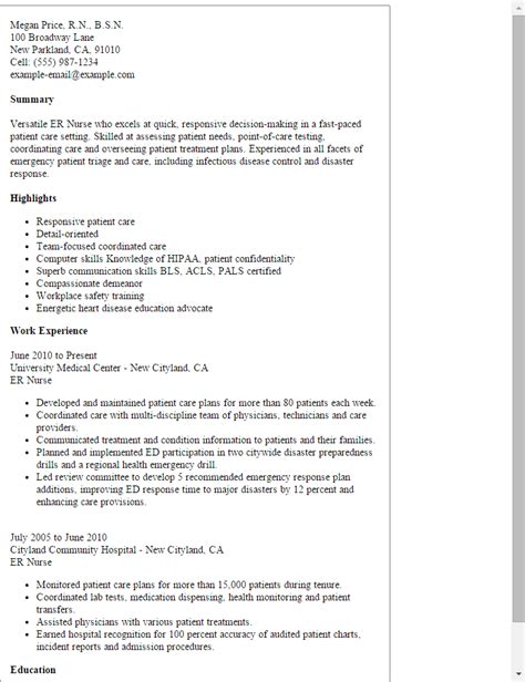 Emergency Description by Er Resume Template Best Design Tips Myperfectresume