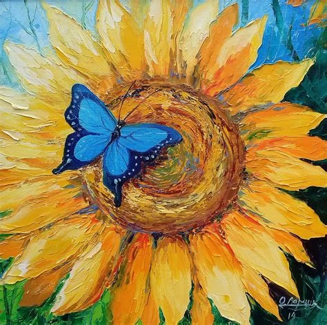 painting with butterfly on sunflower painting by olha darchuk