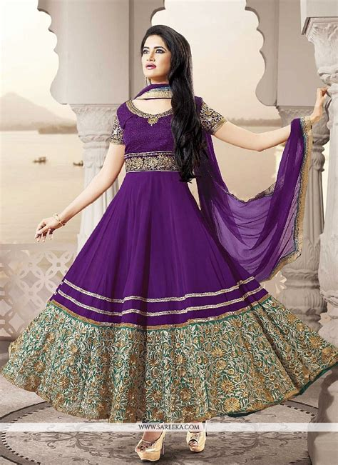 long sut purple georgette embroidered long anarkali suit