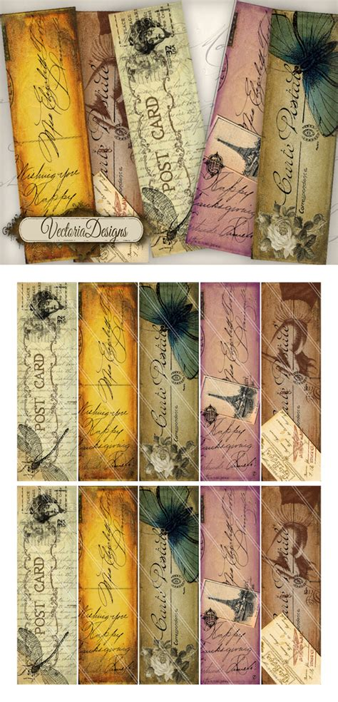 vintage decor design bookmark 5689 printable bookmarks vintage post by vectoriadesigns on