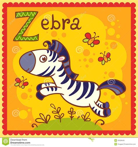 the illustrated a z of illustrated alphabet letter z and zebra stock vector image 33326645