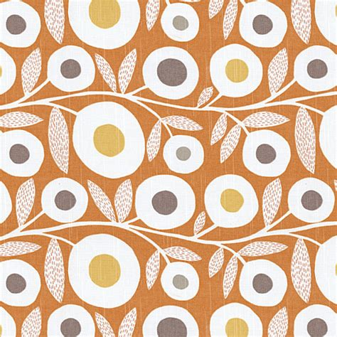 decor upholstery orange gray graphic floral fabric modern upholstery