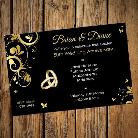 golden wedding anniversary invitation card golden wedding invitation cards