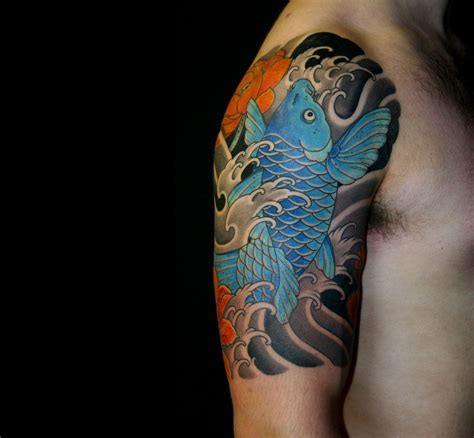 koi fish sleeve tattoos designs koi half sleeve tattoos koi japanese