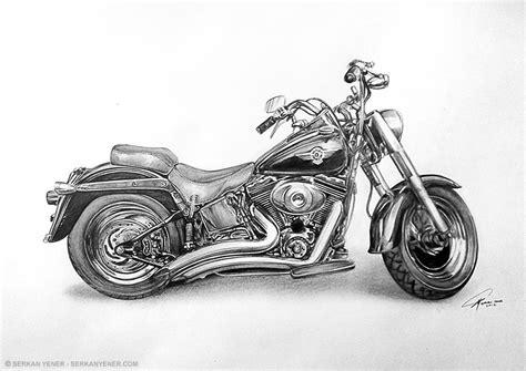 Pencil Drawing Of A Harley Davidson Motorcycle Serkan Yener
