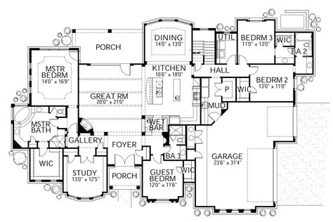 Mediterranean Style House Plan   4 Beds 3.50 Baths 3518 Sq