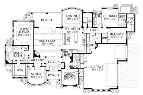 Mediterranean Style House Plan   4 Beds 3.50 Baths 3518 Sq