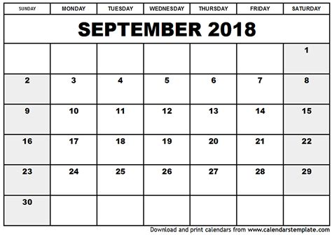 printable calendar september september 2018 calendar template