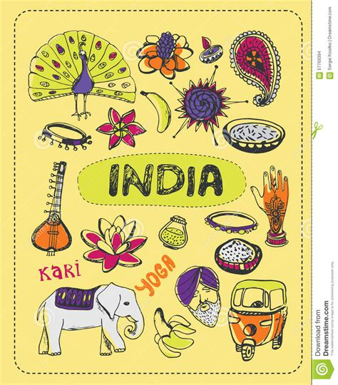 indian doodle doodle about india stock vector image 57769394