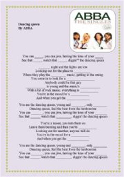 printable lyrics dancing queen abba english worksheet dancing queen lyrics abba