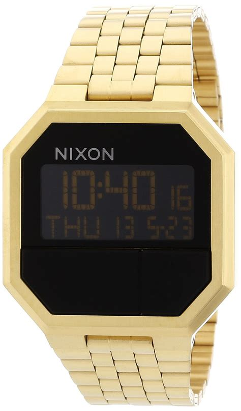 Nixon Digital Stainless Black Gold nixon re run black stainless steel mens