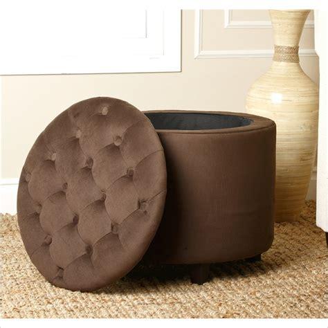 velvet ottoman round porter round velvet storage ottoman in dark brown ad ot