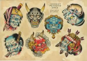 japanese masks flash tattoo by vincent penning darko s