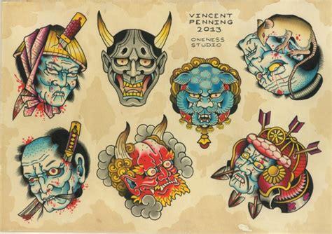 tattoo japanese flash japanese masks flash tattoo by vincent penning darko s