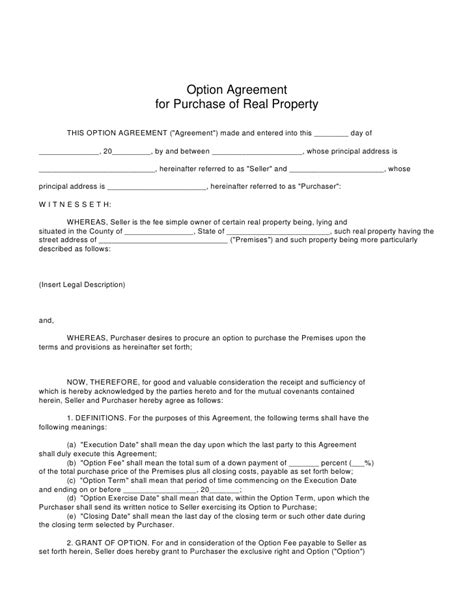 real estate option agreement template sam bell real estate investing strategies