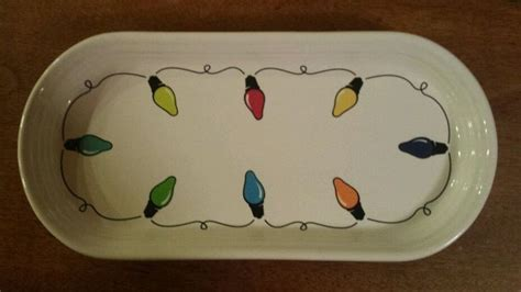 christmas fiestaware string o lights bread tray