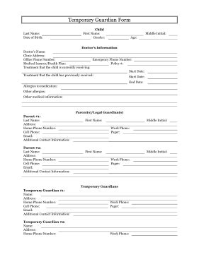 Printable Temporary Guardianship Form Legal Pleading Template Temporary Custody Affidavit Template