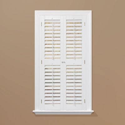 interior window shutters home depot homebasics plantation faux wood white interior shutter price varies by size qspa3572 the